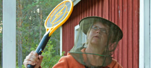 olycom - zanzara - ARJ0H4 woman wearing a hat with gaze as protection against gnats mosquitos sitting in front of a red scandinavian timber wooden house